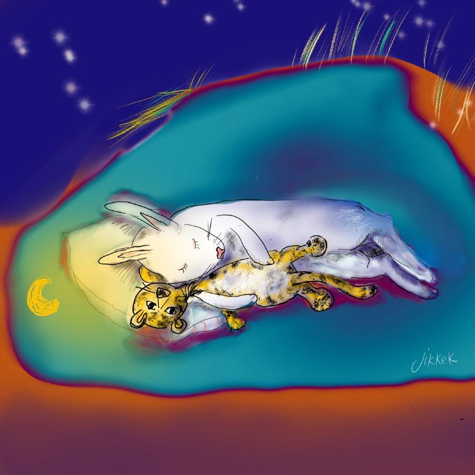 Slapend konijn met tijgerknuffel_Jikke_Kuiper