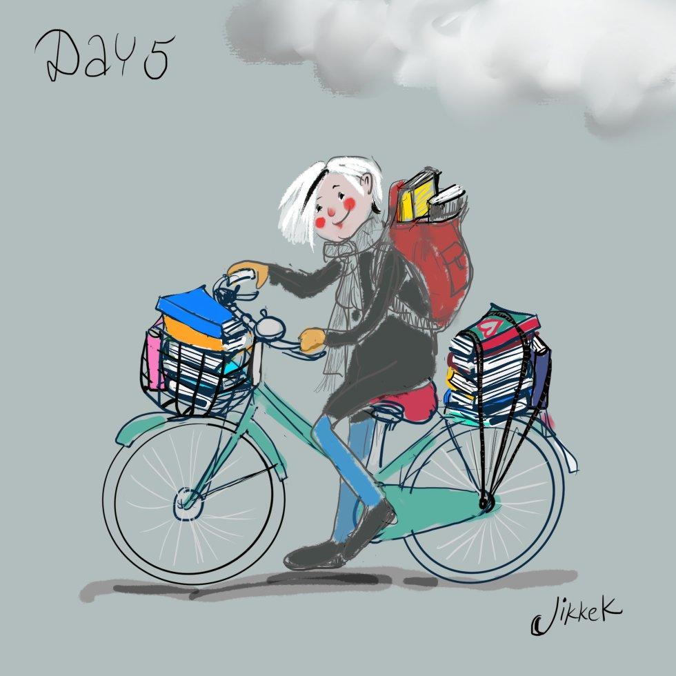 Vrouw met veel boeken op fiets_illustratie Jikke Kuiper